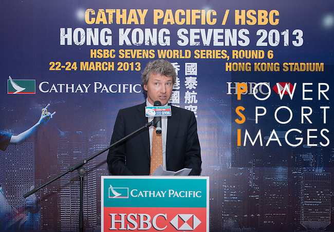 Mr Gordon French, Head of Global Markets Asia of HSBC, speaks during the Cathay Pacific/HSBC Hong Kong Sevens 2013 Official Draw held at Hysan Place, Hong Kong on 21st February 2013. Photo Raf Sanchez / The Power of Sport Images