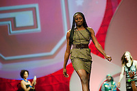INDIANAPOLIS, IN - APRIL 1, 2011: Chiney Ogwumike enjoys the festivities at the Cirque du Salute at the Indianapolis Convention Center at Tourney Town during the NCAA Final Four in Indianapolis, IN on April 1, 2011.