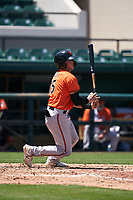 Baltimore Orioles Toby Welk (15) bats during a Minor League Spring Training game against the Detroit Tigers on April 14, 2021 at Joker Marchant Stadium in Lakeland, Florida.  (Mike Janes/Four Seam Images)