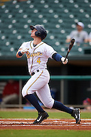 Montgomery Biscuits designated hitter Daniel Robertson (4) at bat during a game against the Tennessee Smokies on May 25, 2015 at Riverwalk Stadium in Montgomery, Alabama.  Tennessee defeated Montgomery 6-3 as the game was called after eight innings due to rain.  (Mike Janes/Four Seam Images)