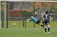 Goalkeeper Lisa Vandeputte (1) of Eendracht Aalst tries to catch the penalty shot of Ella Vierendeels (4) of Zulte-Waregem during a female soccer game between SV Zulte - Waregem and Eendracht Aalst on the 9 th matchday in play off 2 of the 2020 - 2021 season of Belgian Scooore Womens Super League , saturday 22 nd of May 2021  in Zulte , Belgium . PHOTO SPORTPIX.BE | SPP | DIRK VUYLSTEKE