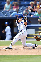Asheville Tourists third baseman Max George (3) swings at a pitch during a game against the Rome Braves at McCormick Field on June 11, 2017 in Asheville, North Carolina. The Braves defeated the Tourists 3-1. (Tony Farlow/Four Seam Images)