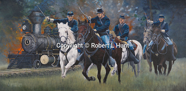 """Union cavalry squad charging the enemy in defense of a railroad train at Manassas, Virginia. Oil on canvas, 15"""" x 30""""."""