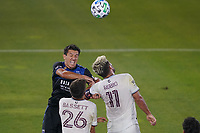 SAN JOSE, CA - SEPTEMBER 5: Shea Salinas #6 of the San Jose Earthquakes goes up for a header with Diego Rubio #11 of the Colorado Rapids during a game between Colorado Rapids and San Jose Earthquakes at Earthquakes Stadium on September 5, 2020 in San Jose, California.