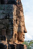 Cambodia, Bayon Temple.  Smiling Buddha.