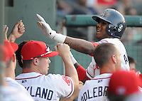 April 28, 2009: Michael Almanzar (10) of the Greenville Drive is congratulated after hitting a home run in a game against the Savannah Sand Gnats at Fluor Field at the West End in Greenville, S.C. Photo by: Tom Priddy/Four Seam Images