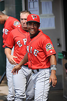 Erie SeaWolves outfielder Marcus Lemon (1) and Tyler Collins (17) during game against the Trenton Thunder at ARM & HAMMER Park on May 29 2013 in Trenton, NJ.  Trenton defeated Erie 3-1.  Tomasso DeRosa/Four Seam Images