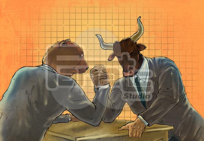 Anthropomorphic bear and bull arm wrestling representing the concept of Bear vs. Bull market