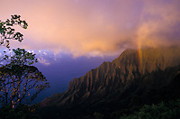 Kalalau valley at sunset with rainbow
