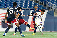 FOXBOROUGH, MA - AUGUST 7: Moises Tablante #67 of Orlando City B takes a shot during a game between Orlando City B and New England Revolution II at Gillette Stadium on August 7, 2020 in Foxborough, Massachusetts.