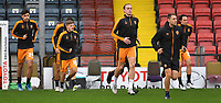 Hull City players come out to warm up<br /> <br /> Photographer Dave Howarth/CameraSport<br /> <br /> The EFL Sky Bet League One - Rochdale v Hull City - Saturday 17th October 2020 - Spotland Stadium - Rochdale<br /> <br /> World Copyright © 2020 CameraSport. All rights reserved. 43 Linden Ave. Countesthorpe. Leicester. England. LE8 5PG - Tel: +44 (0) 116 277 4147 - admin@camerasport.com - www.camerasport.com