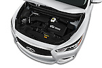 Car Stock 2017 Infiniti QX60 Hybrid 5 Door SUV Engine  high angle detail view