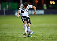LAKE BUENA VISTA, FL - JULY 26: Jake Nerwinski of Vancouver Whitecaps FC passes the ball during a game between Vancouver Whitecaps and Sporting Kansas City at ESPN Wide World of Sports on July 26, 2020 in Lake Buena Vista, Florida.