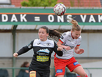 Valentine Hannecart (8) of Eendracht Aalst and Laura Vervacke (20) of Zulte-Waregem battle for the high ball during a female soccer game between SV Zulte - Waregem and Eendracht Aalst on the 9 th matchday in play off 2 of the 2020 - 2021 season of Belgian Scooore Womens Super League , saturday 22 nd of May 2021  in Zulte , Belgium . PHOTO SPORTPIX.BE   SPP   DIRK VUYLSTEKE