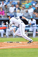 Asheville Tourists Alex McKenna (23) runs to first base during a game against the Greenville Drive on May 18, 2021 at McCormick Field in Asheville, NC. (Tony Farlow/Four Seam Images)