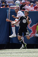 Khano Smith (7) of the New York Red Bulls and Ben Olsen (14) of DC United go up for a header. D. C. United defeated the New York Red Bulls 3-2 during a Major League Soccer match at Giants Stadium in East Rutherford, NJ, on April 26, 2009.