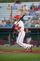 Auburn Doubledays shortstop Carter Kieboom (9) bats during a game against the Connecticut Tigers on August 9, 2017 at Falcon Park in Auburn, New York.  Connecticut defeated Auburn 6-4.  (Mike Janes/Four Seam Images)