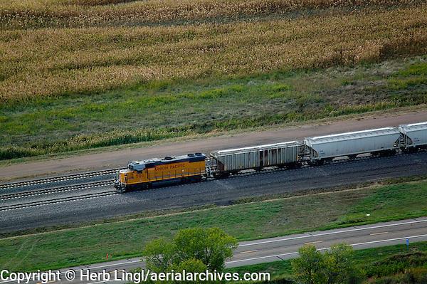 aerial photograph Union Pacific locomotive cars Nebraska
