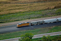 aerial photograph Union Pacific locomotive cars Nebraska