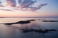 Sunset at Boston lighthouse, aerial, Boston, MA