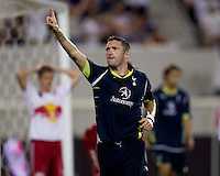 Robbie Keane (10) of Tottenham celebrates his goal during the Barclays New York Challenge at Red Bull Arena in Harrison, NY.  Tottenham defeated the New York Red Bulls, 2-1.