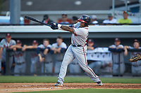 Charles Reyes (39) of the Danville Braves follows through on his swing against the Burlington Royals at Burlington Athletic Stadium on July 13, 2019 in Burlington, North Carolina. The Royals defeated the Braves 5-2. (Brian Westerholt/Four Seam Images)