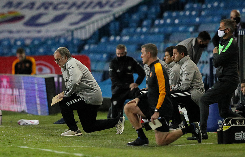Leeds United manager Marcelo Bielsa takes the knee before the game<br /> <br /> Photographer Alex Dodd/CameraSport<br /> <br /> Carabao Cup Second Round Northern Section - Leeds United v Hull City -  Wednesday 16th September 2020 - Elland Road - Leeds<br />  <br /> World Copyright © 2020 CameraSport. All rights reserved. 43 Linden Ave. Countesthorpe. Leicester. England. LE8 5PG - Tel: +44 (0) 116 277 4147 - admin@camerasport.com - www.camerasport.com
