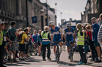 Iljo Keisse (BEL/Quick-Step floors) & Fernando Gaviria (COL/Quick-Step Floors) on their way to the start<br /> <br /> Stage 8: London to London (77km)<br /> 15th Ovo Energy Tour of Britain 2018
