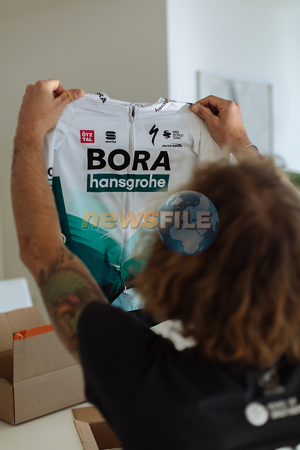 BORA-Hansgrohe launches it's new 2021 Sportful kit. The design of the BORA-Hansgrohe kit has received a refreshed look with a cool and modern light grey colour, while keeping the iconic chevron at its core. 18th December 2020.<br /> Picture: BORA-Hansgrohe/Sportful/Chiara Redaschi  | Cyclefile<br /> <br /> All photos usage must carry mandatory copyright credit (© Cyclefile | BORA-Hansgrohe/Sportful/Chiara Redaschi)