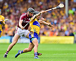 David Reidy of Clare in action against Aidan Harte of Galway during their All-Ireland semi-final replay at Semple Stadium,Thurles. Photograph by John Kelly.