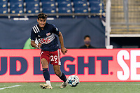 FOXBOROUGH, MA - AUGUST 26: Nicolas Firmino #29 of New England Revolution II passes the ball during a game between Greenville Triumph SC and New England Revolution II at Gillette Stadium on August 26, 2020 in Foxborough, Massachusetts.