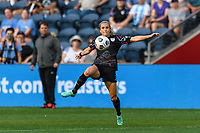 BRIDGEVIEW, IL - JULY 18: Nikki Stanton #7 of the Chicago Red Stars plays the ball during a game between OL Reign and Chicago Red Stars at SeatGeek Stadium on July 18, 2021 in Bridgeview, Illinois.