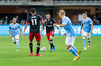 WASHINGTON, DC - APRIL 17: Junior Moreno #5 of D.C. United dribbles during a game between New York City FC and D.C. United at Audi Field on April 17, 2021 in Washington, DC.