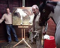BNPS.co.uk (01202 558833)<br /> Pic: SisterLangdon/BNPS<br /> <br /> Freud at the pony centre with a different horse (Sioux) that he did paint.<br /> <br /> An abandoned drawing of a horse by Lucian Freud together with painting materials he also left behind have sold at auction for £80,000. The celebrated British artist gave up on his study of the horse called Goldie halfway through as he decided he didn't like her personality.He left the unfinished work at the Wormwood Scrubs Pony Centre in west London along with his easel, palette and paint brushes. The items have now sold at Chiswick Auctions.
