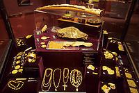 Gold nugget display, University of Alaska Museum, Fairbanks, Alaska,