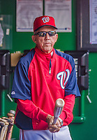22 September 2013: Washington Nationals Manager Davey Johnson holds a bat in the dugout prior to a game against the Miami Marlins at Nationals Park in Washington, DC. The Marlins defeated the Nationals 4-2 in the first game of their day/night double-header. Mandatory Credit: Ed Wolfstein Photo *** RAW (NEF) Image File Available ***