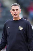 Wake Forest Demon Deacons head coach Tom Walter (16) during the game against the Florida State Seminoles at Wake Forest Baseball Park on April 19, 2014 in Winston-Salem, North Carolina.  The Seminoles defeated the Demon Deacons 4-3 in 13 innings.  (Brian Westerholt/Four Seam Images)