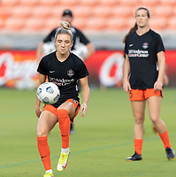 HOUSTON, TX - SEPTEMBER 10: Kristie Mewis #19 of the Houston Dash warming up before a game between Chicago Red Stars and Houston Dash at BBVA Stadium on September 10, 2021 in Houston, Texas.