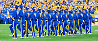 The University of Pittsburgh marching band bugle corps perform before the game. The Virginia Cavaliers defeated the Pitt Panthers 30-14 in a football game at Heinz Field, Pittsburgh, Pennsylvania on August 31, 2019.