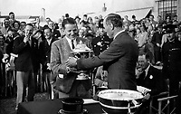 BNPS.co.uk (01202 558833)<br /> Pic: Sworders/BNPS<br /> <br /> Pictured: Tommy Rose receives the cup from George V<br /> <br /> An exquisite silver-gilt trophy awarded by the King to the fastest pilot of the day has emerged for sale eight decades later.<br /> <br /> The 'King's Cup' race was founded by George V in 1922 to stimulate the development of light aircraft in the early age of aviation.<br /> <br /> He handed this cup over to the winner of the 1935 edition, the World War One flying ace Flight Lieutenant Tommy Rose.