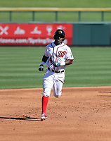 Victor Robles hits his first homerun in his second Arizona Fall League game as a member of the Mesa Solar Sox in a home game against the Scottsdale Scorpions at Sloan Park on October 24, 2017 in Mesa, Arizona (Bill Mitchell)