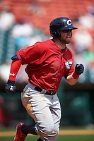 Columbus Clippers outfielder James Ramsey (10) runs to first during a game against the Buffalo Bisons on July 19, 2015 at Coca-Cola Field in Buffalo, New York.  Buffalo defeated Columbus 4-3 in twelve innings.  (Mike Janes/Four Seam Images)