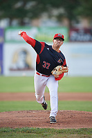 Batavia Muckdogs starting pitcher Alejandro Mateo (37) delivers a warmup pitch during a game against the Auburn Doubledays on June 19, 2017 at Dwyer Stadium in Batavia, New York.  Batavia defeated Auburn 8-2 in both teams opening game of the season.  (Mike Janes/Four Seam Images)