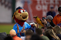 Inland Empire 66ers mascot Bernie takes a photo with some fans during a California League game against the Lancaster JetHawks at San Manuel Stadium on May 18, 2018 in San Bernardino, California. Lancaster defeated Inland Empire 5-3. (Zachary Lucy/Four Seam Images)