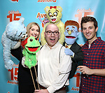 "Jamie Glickman and Matt Dengler with Avenue Q & Puppetry Fans during ""Avenue Q"" Celebrates World Puppetry Day at The New World Stages on 3/21/2019 in New York City."