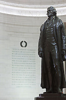 The statue of Thomas Jefferson by Rudulph Evans  and an excerpt from a letter Jefferson wrote to Samuel Kercheval on the southeast wall inside the Jefferson Memorial in Washington, DC