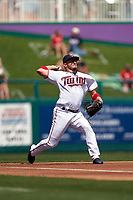 Minnesota Twins third baseman Josh Donaldson (20) throws to first base during a Major League Spring Training game against the Pittsburgh Pirates on March 16, 2021 at Hammond Stadium in Fort Myers, Florida.  (Mike Janes/Four Seam Images)