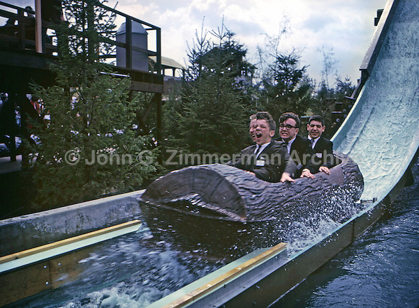 Log Ride, 1964 World's Fair, New York. While log rides are common today, they were new in 1964. The four minute ride ended with a splash as the logs whisked down a 45 degree slide into swirling rapids. Photo by John G. Zimmerman.