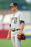 Charleston RiverDogs first baseman Greg Bird (32) on defense against the Greensboro Grasshoppers at NewBridge Bank Park on July 17, 2013 in Greensboro, North Carolina.  The Grasshoppers defeated the RiverDogs 4-3.  (Brian Westerholt/Four Seam Images)