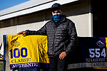 November 4, 2020: Humberto Gomez, track work rider for Bob Baffert with the saddle towels of two of his runners in the Breeders Cup at Keeneland Racetrack in Lexington, Kentucky on November 4, 2020. Alex Evers/Eclipse Sportswire/Breeders Cup